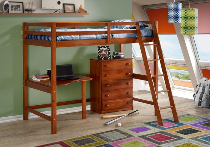 Donco Kids Tall Student Loft Slats Light Espresso 375-BE