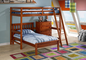Donco Kids Tall Student Loft Corner Desk Top Bed 375-CE-Loft Beds-HipBeds.com
