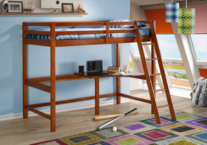 Donco Kids Tall Student Loft Bed Light Espresso 375-AE-Loft Beds-HipBeds.com