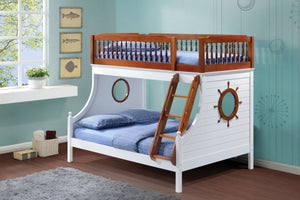 ACME Farah Twin/Full Bunk Bed Oak & White - 37600-Bunk Beds-HipBeds.com