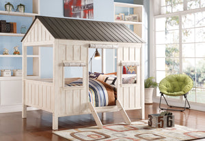 ACME Spring Cottage Full Bed Weathered White & Washed Gray - 37655F-Loft Beds-HipBeds.com