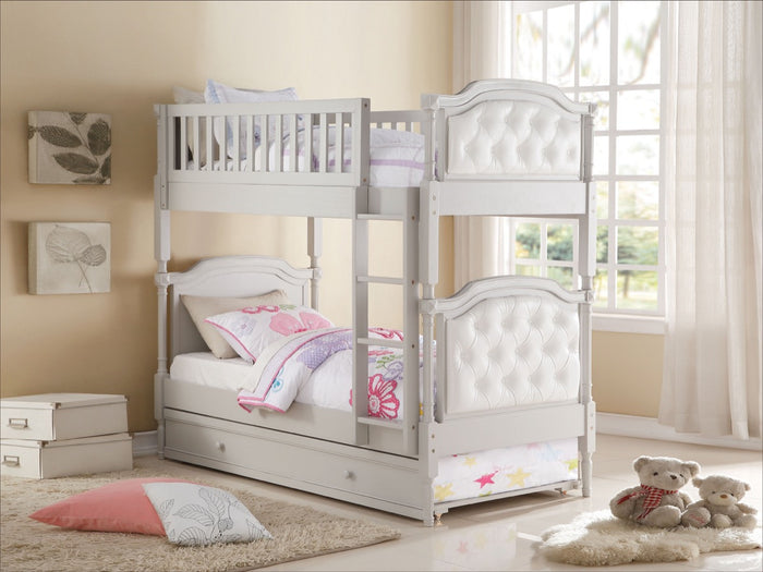 ACME Pearlie Twin/Twin Bunk Bed Gray & Pearl White PU - 37690