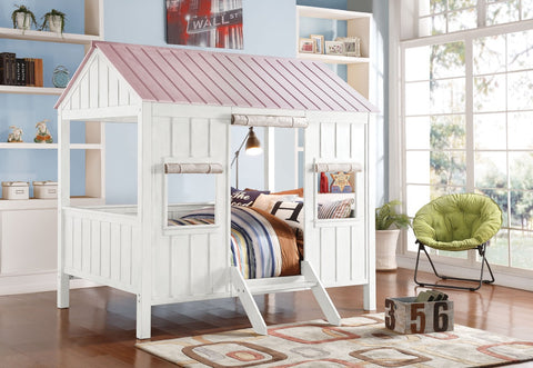 ACME Spring Cottage Full Bed White & Pink - 37695F-Loft Beds-HipBeds.com