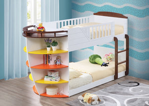 ACME Neptune Twin/Twin Bunk Bed w/Storage Shelves White & Chocolate - 37715-Bunk Beds-HipBeds.com