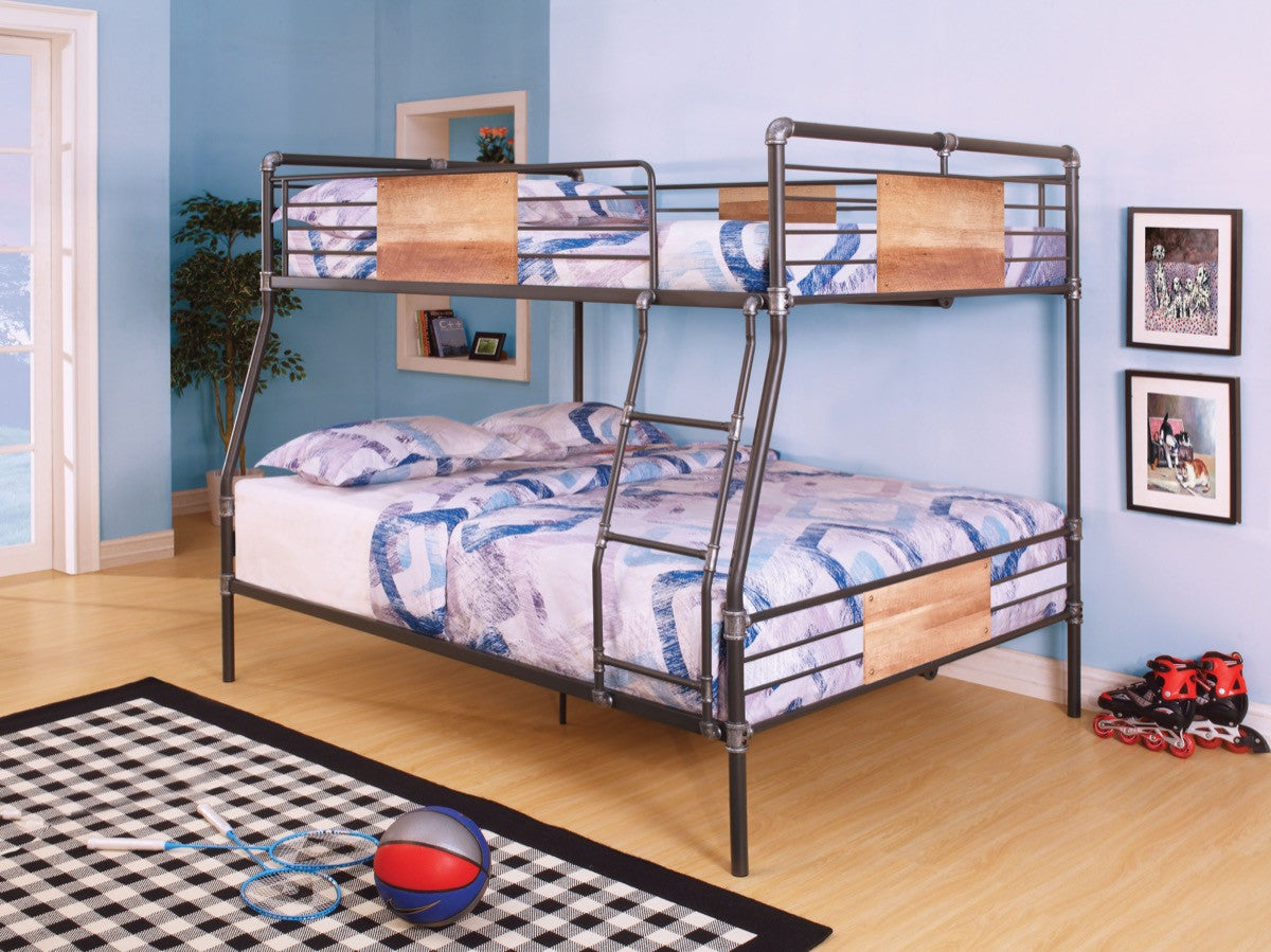 Bunkbed Pictures acme brantley full xl/queen bunk bed sandy black & silver - 37725