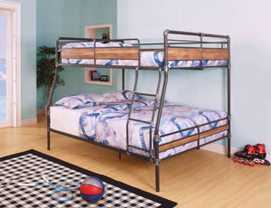 ACME Brantley II Full XL/Queen Bunk Bed Sandy Black & Silver - 37735-Bunk Beds-HipBeds.com