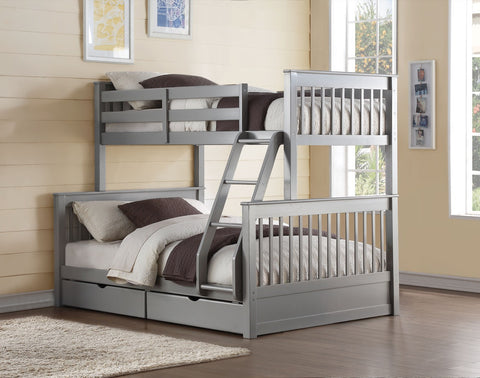 ACME Haley II Twin/Full Bunk Bed w/2 Drawers Gray - 37755-Bunk Beds-HipBeds.com
