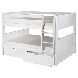 Camaflexi Full over Full Low Bunk Bed with Drawers - Panel Headboard - Natural Finish - C2221_DR-Bunk Beds-HipBeds.com