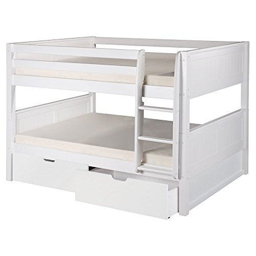 Camaflexi Full over Full Low Bunk Bed with Drawers - Panel Headboard - Natural Finish - C2221_DR