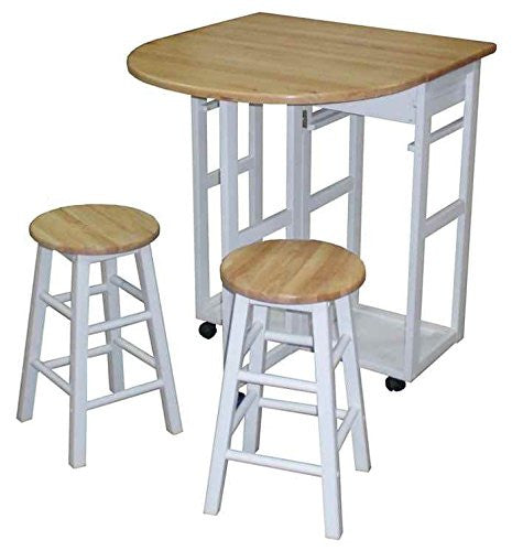 Casual Home Breakfast Cart With Drop Leaf Table White 355 21