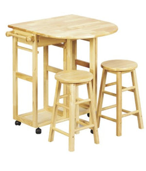 Casual Home Breakfast Cart with Drop-Leaf Table-Natural - 355-20-Breakfast Cart-HipBeds.com