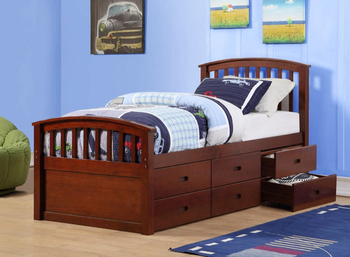 Donco Kids Twin 6 Drawer Storage Bed Cappuccino 425CP
