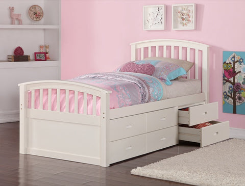 Donco Kids Twin 6 Drawer Storage Bed White 425W-Bookcase Beds-HipBeds.com