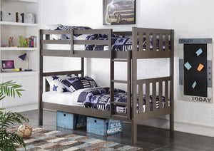 Donco Kids T/T Wide Mission Bunk Bed Slate Grey 4300TTSG-Bunk Beds-HipBeds.com