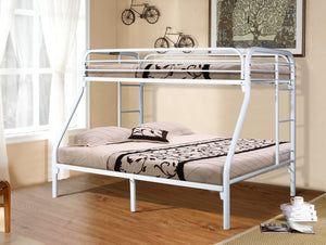 Donco Kids T/F Metal Bunk Bed White 4502-3WH-Bunk Beds-HipBeds.com