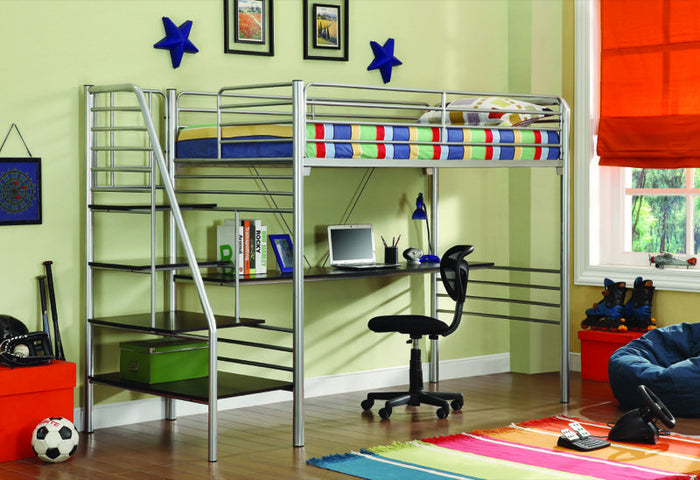 Donco Kids Twin Study Loft Bed With Stairs Silver 4504-SL