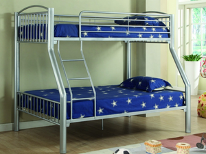 Donco Kids T/F Metal Bunk Bed Silver 4512-SL-Bunk Beds-HipBeds.com