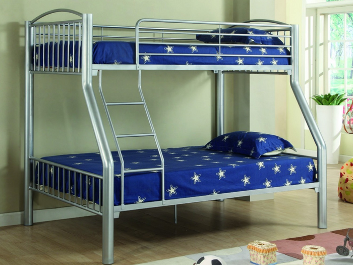 Donco Kids T/F Metal Bunk Bed Silver 4512-SL