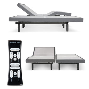 Leggett & Platt S-Cape 2.0 Adjustable Bed Base w/ Full Body Massage, Gray Finish, Split California King - 9