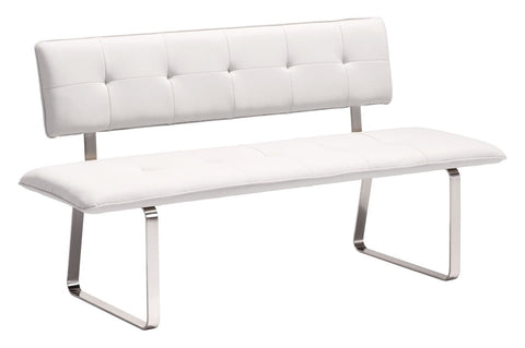Zuo Modern Nouveau Bench White - 500174-Benches-HipBeds.com