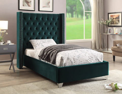 Meridian Aiden Green Velvet Full Bed - Aidengreen-F-Panel Beds-HipBeds.com