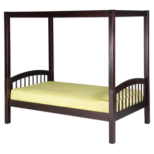 Camaflexi Canopy Bed with Twin Trundle - Mission Headboard - Cappuccino Finish - C812_TR-Canopy Beds-HipBeds.com