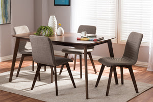 Baxton Studio Sugar Mid-Century Modern Light Grey Fabric Upholstered Walnut Wood Finished 5-Piece Dining Set-Dining Sets-HipBeds.com