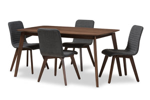 Baxton Studio Sugar Mid-Century Modern Dark Grey Fabric Upholstered Walnut Wood Finished 5-Piece Dining Set-Dining Sets-HipBeds.com