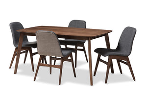 Baxton Studio Embrace Mid-Century Modern Dark Grey Fabric Upholstered Walnut Wood Finished 5-Piece Dining Set-Dining Sets-HipBeds.com