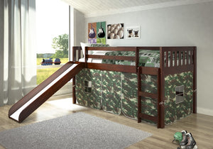 Donco Kids Twin Mission Low Loft Bed With Slide 715-TCP-Loft Beds-HipBeds.com
