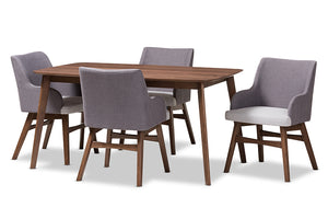 Baxton Studio Monte Mid-Century Modern Walnut Wood Rectangular 5-Piece Dining Set-Dining Sets-HipBeds.com