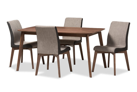 Baxton Studio Kimberly Mid-Century Modern Beige and Brown Fabric 5-Piece Dining Set-Dining Sets-HipBeds.com