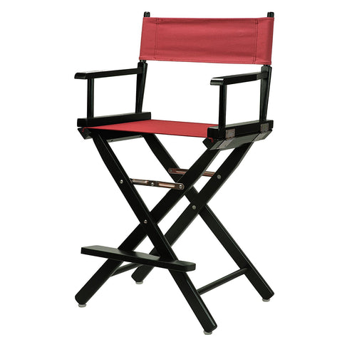 "Casual Home 30"" Director's Chair Black Frame-Burgundy Canvas - 230-02/021-48-Chairs-HipBeds.com"