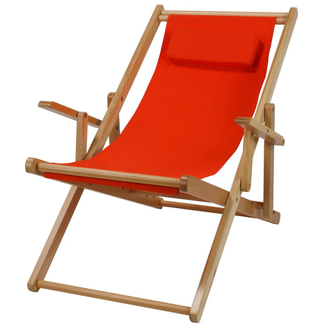 Casual Home Sling Chair Natural Frame-Royal Blue Canvas - 114-00/011-13-Chairs-HipBeds.com