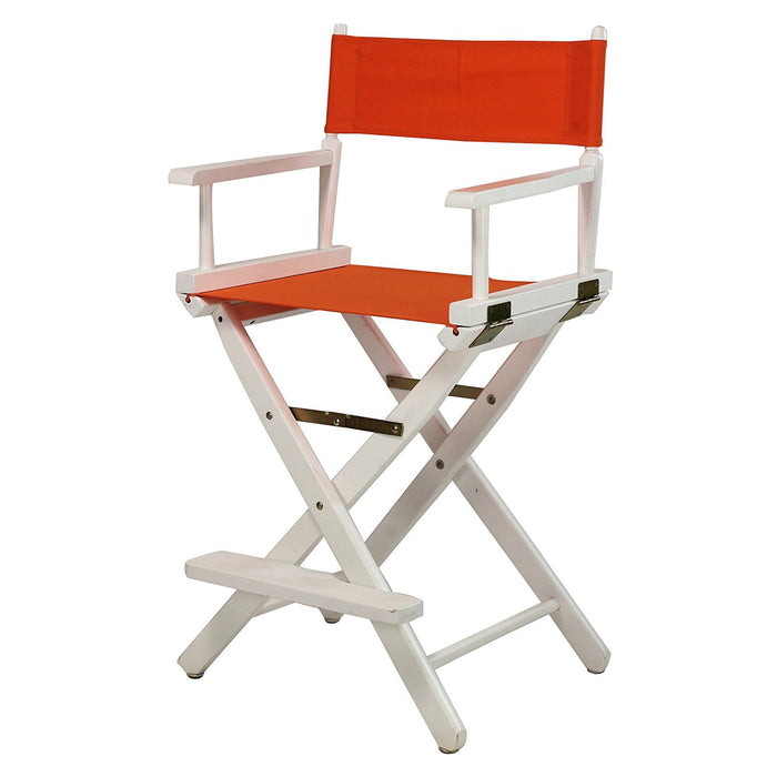 "Casual Home 24"" Director's Chair White Frame-Tangerine Canvas - 220-01/021-59"