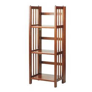 "Casual Home 3-Shelf Folding Bookcase 14"" Wide-Mahogany - 331-39-Bookcases-HipBeds.com"
