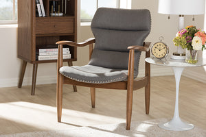 Baxton Studio Hadley Mid-Century Modern Grey Fabric and Walnut Brown Finished Wood Lounge Chair-Chairs-HipBeds.com