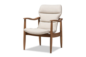 Baxton Studio Hadley Mid-Century Modern Light Beige Fabric and Walnut Brown Finished Wood Lounge Chair-Chairs-HipBeds.com