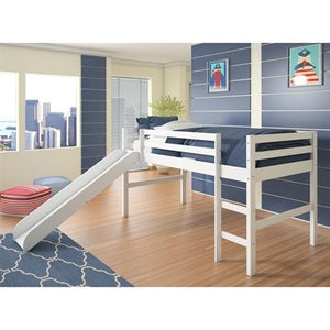 Donco Kids Twin Low Loft Bed With Slide 750-TW-Loft Beds-HipBeds.com