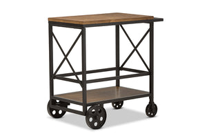 Baxton Studio Chester Rustic Industrial Style Oak Brown Finished Wood and Black Finished Metal Mobile Serving Cart Image 3
