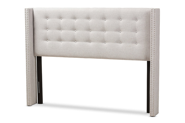 Baxton Studio Ginaro Modern And Contemporary Greyish Beige Fabric Button-Tufted Nail head King Size Winged Headboard