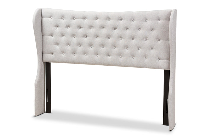 Baxton Studio Cadence Modern and Contemporary Greyish Beige Fabric Button-Tufted Full Size Winged Headboard