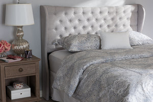 Baxton Studio Cadence Modern and Contemporary Greyish Beige Fabric Button-Tufted Full Size Winged Headboard-Headboards & Footboards-HipBeds.com