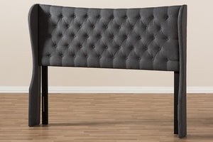 Baxton Studio Cadence Modern and Contemporary Dark Grey Fabric Button-Tufted Queen Size Winged Headboard-Headboards & Footboards-HipBeds.com