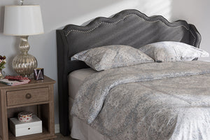 Baxton Studio Nadeen Modern and Contemporary Dark Grey Fabric King Size Winged Headboard-Headboards & Footboards-HipBeds.com