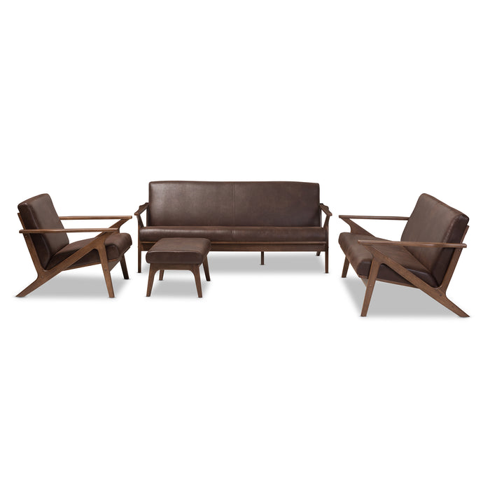Baxton Studio Bianca Walnut Wood Brown Leather Livingroom Sofa Set