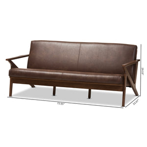 Baxton Studio Bianca Walnut Wood Brown Leather 3-Seater Sofa-Sofas-HipBeds.com