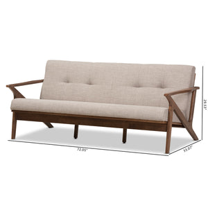 Baxton Studio Bianca Walnut Wood Light Grey Tufted 3-Seater Sofa - 10