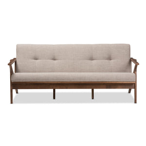 Baxton Studio Bianca Walnut Wood Light Grey Tufted 3-Seater Sofa - 2