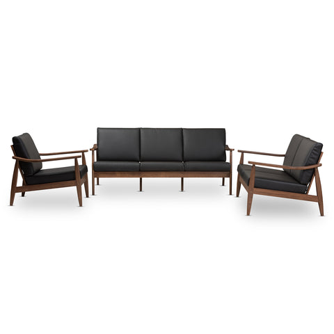 Baxton Studio Venza Walnut Wood Black Leather 3-Piece Livingroom Set - 1